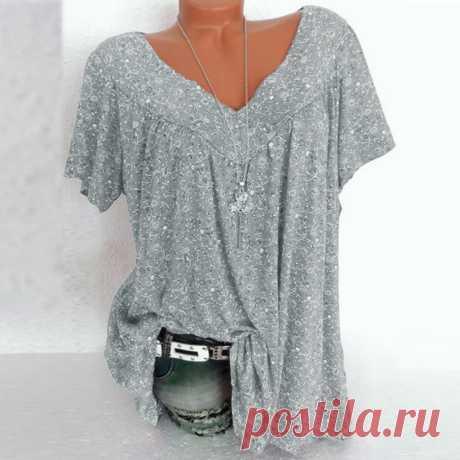 Футболка женская с V образным вырезом, модная Повседневная Туника с принтом, рубашка с коротким рукавом, пуловер, большие размеры, на лето|Футболки| | АлиЭкспресс
