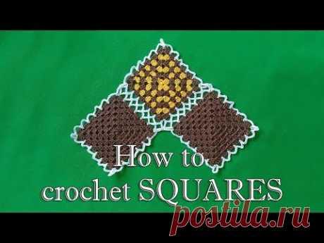 Как вязать Квадрат  - МК -  Квадрат для пледа   DIY How to crochet SQUARES