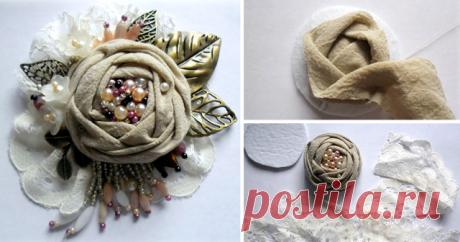 Создаем многослойную брошь-цветок в стиле бохо