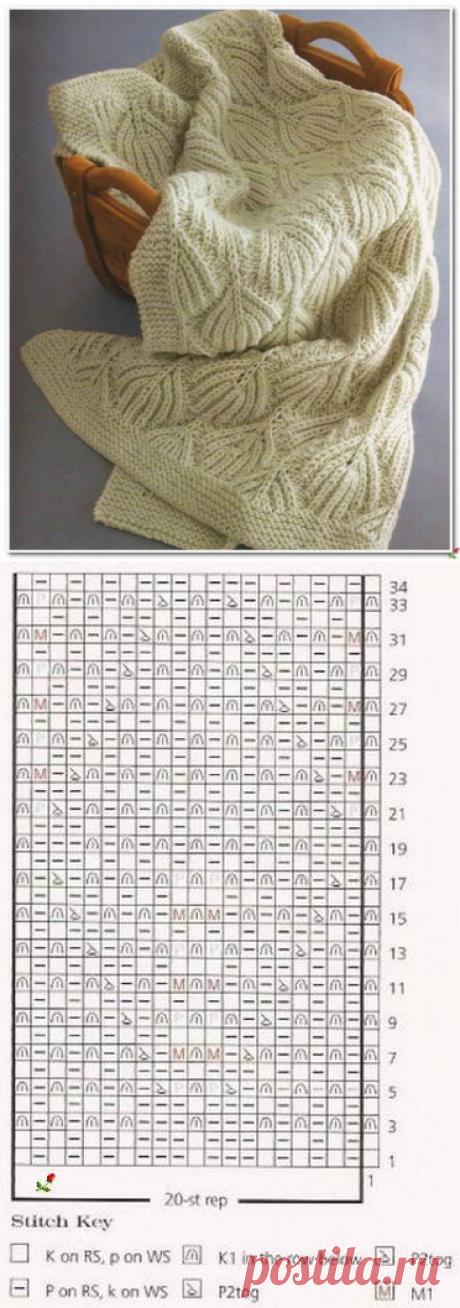 Объемный узор для пледа спицами. Pattern for rug knitting needles   Вязание для всей семьи