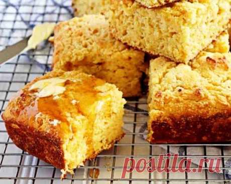 Кукурузный хлеб с творогом Ароматный кукурузный хлеб из двух видов муки, с добавлением творога и меда – простой, быстрый и полезный рецепт