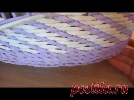 Плетение из газетных трубочек  Простой узор/Weaving newspaper tubes. Simple pattern