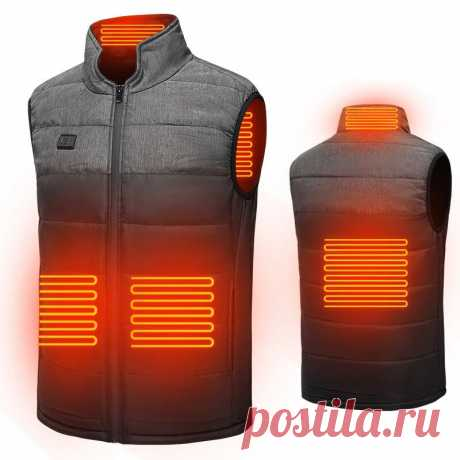 Tengoo heated jacket usb charging double switch 3 modes neck back waist abdomen electric heated vest winter body warmer Sale - Banggood.com