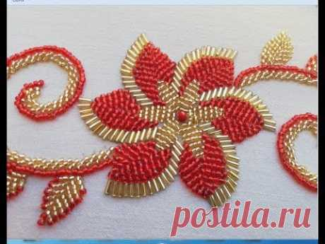 hand embroidery hand embroidery design :flower with long beads.