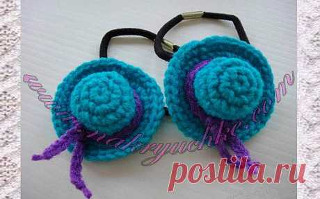 «Шляпки» - резинки для волос своими руками | на Крючке (блог о вязании)