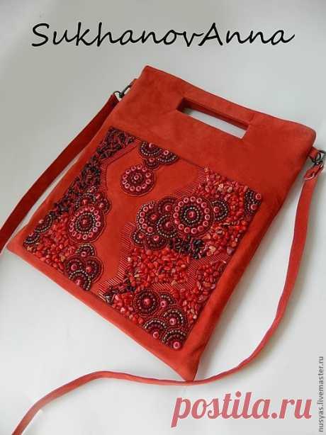 """Купить Сумка """"Коралловая фантазия"""" - ярко-красный, вышитая сумка, сумка-планшет, Сумка с вышивкой"""