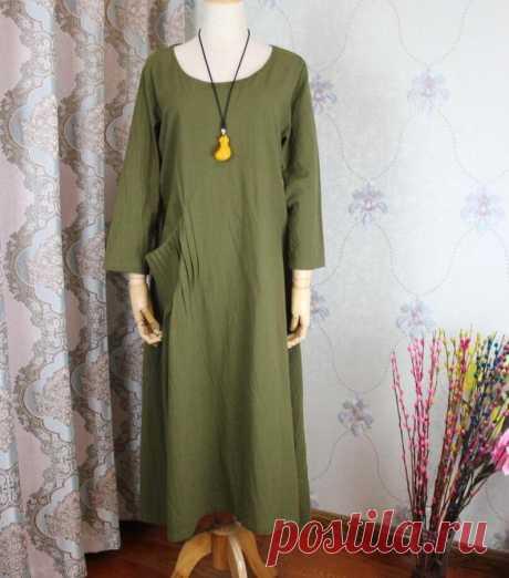 Linen olive green Dresses Women midi Dress Linen Kaftan | Etsy