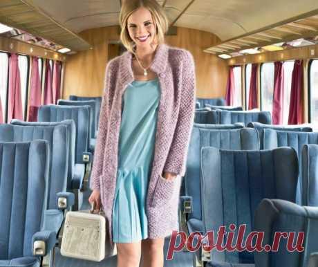 Пальто спицами с воротником стойка - Портал рукоделия и моды