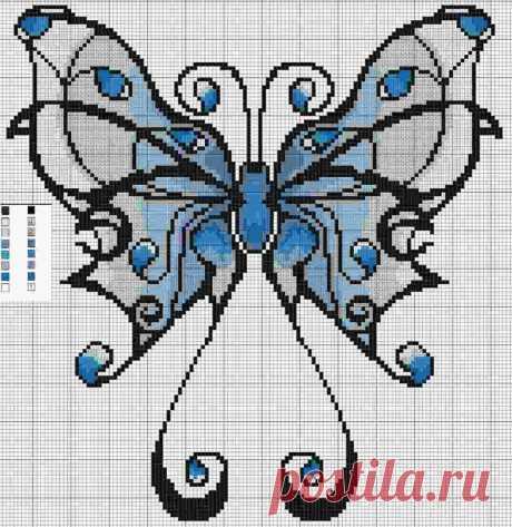 синий махаон. Бабочка крестиком. Схема вышивки крестом бабочки: бесплатные цветы, маленькие.