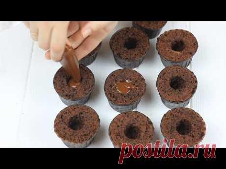 ТЕПЕРЬ ЭТО ЛЮБИМЫЕ КАПКЕЙКИ МОЕЙ ДОЧКИ. Рецепт шоколадных капкейков Брауни с карамелью. Вкусный кекс