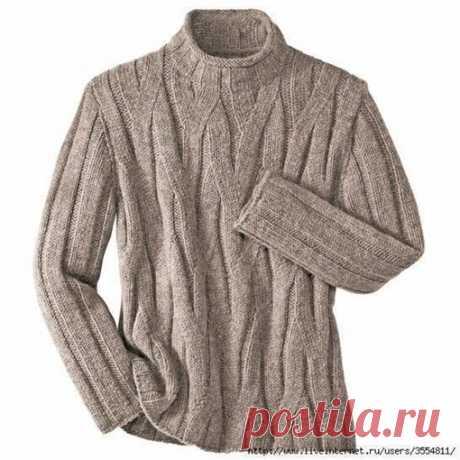 Просто и стильно. Мужской пуловер с ложными жгутами  #пуловер_спицами@knit_best, #пуловер_мужской@knit_best  Источник: https://www.liveinternet.ru/users/lydmilapetrovna/pos..