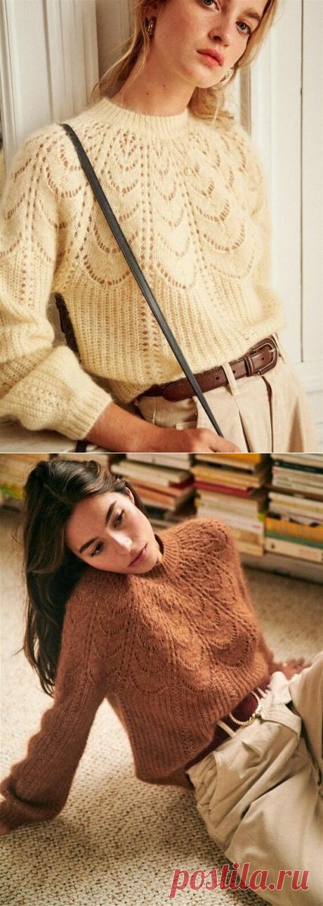 Схемы вязания полюбившейся всем модели свитера с ажурным верхом | Вязунчик — вяжем вместе | Яндекс Дзен