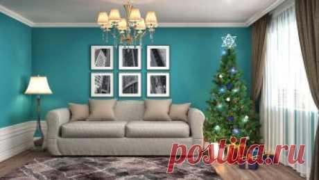 Фото Рождество Елка 3D Графика Подарки Интерьер Диван Лампа Люстра
