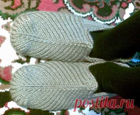 Домашние тапочки для мужчины (Вязание спицами) — Журнал Вдохновение Рукодельницы