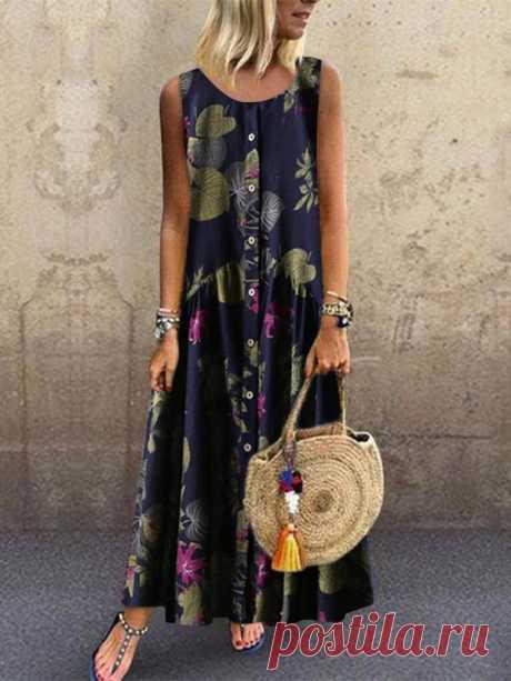 Fashion Botanical Jacquard Sleeveless Dresses – Innfemale