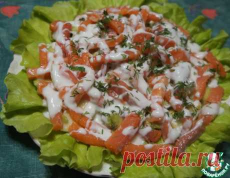 Салат из семги с авокадо и яблоком – кулинарный рецепт