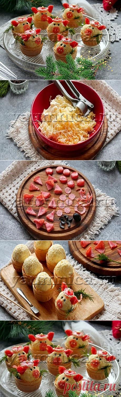Простая и вкусная холодная закуска с колбасой в тарталетках – пошаговый фото рецепт