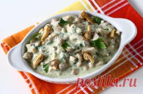 Грибной салат с майонезом и чесноком — Sloosh – кулинарные рецепты