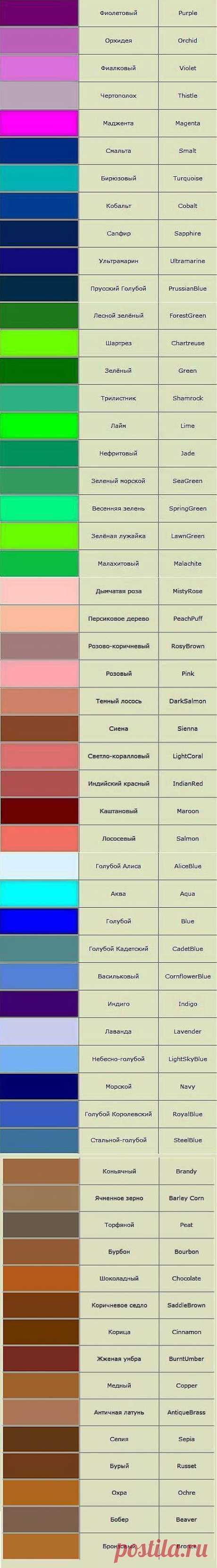 Названия цветов и оттенков..