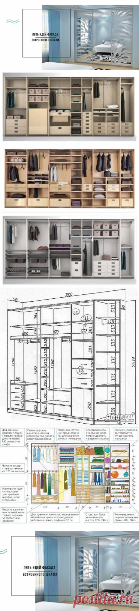 Встроенный шкаф - идеи фасада для модных интерьеров