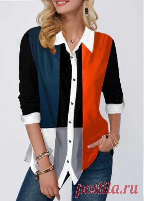 Womens Casual Tops Button Up Color Block Turndown Collar Shirt