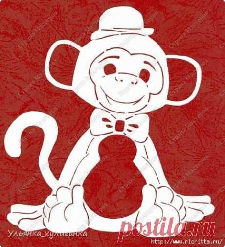 Вытыканки обезьянки. Силуэты на новогодние окна и зеркала