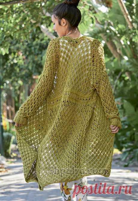 Ажурное льняное пальто — Shpulya.com - схемы с описанием для вязания спицами и крючком