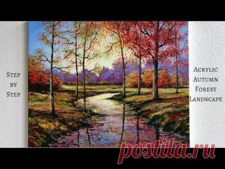 Осенний лес STEP by STEP Acrylic Painting (ColorbyFeliks)