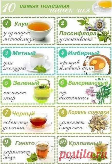 10 самых полезных чашек чая 1. Улун (название, которое может быть на упаковке – Oolong). Чай улун улучшает метаболизм. Цветовая гамма заварки – от бледно-нефритового (как у зеленого чая) до темно-золотистого и темно-красного. Чем краснее чай, тем он больше помогает в похудении, за счет содержащихся в нем...