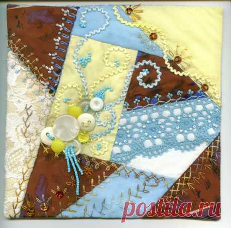 Старинная лоскутная техника Crazy quilt. Часть 3. Вышивка и декор блока | Я люблю пэчворк | Яндекс Дзен