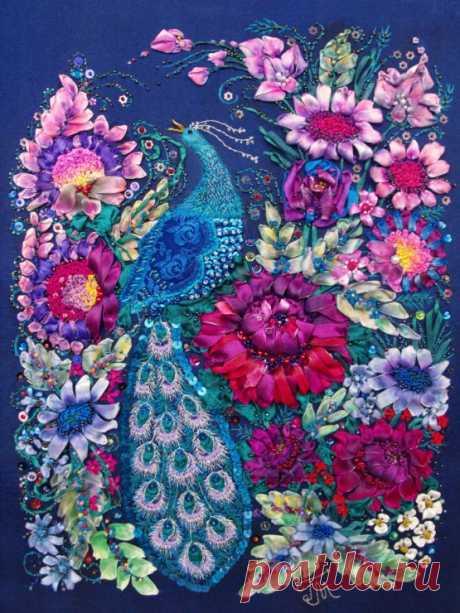 "(8) Gallery.ru / Фото #1 - Вышивка лентами ""Синяя птица"" по мотивам народной росписи - GalinaMasuyk"