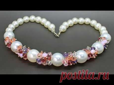 Колье из акриловых и стеклянных бусин мастер класс DIY ожерелье из бисера кристаллов