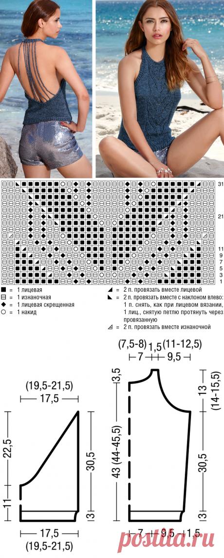 Топ с полосой из «листьев» - схема вязания спицами. Вяжем Топы на Verena.ru