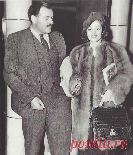 1938. Эрнест Хемингуэй с Марлен Дитрих