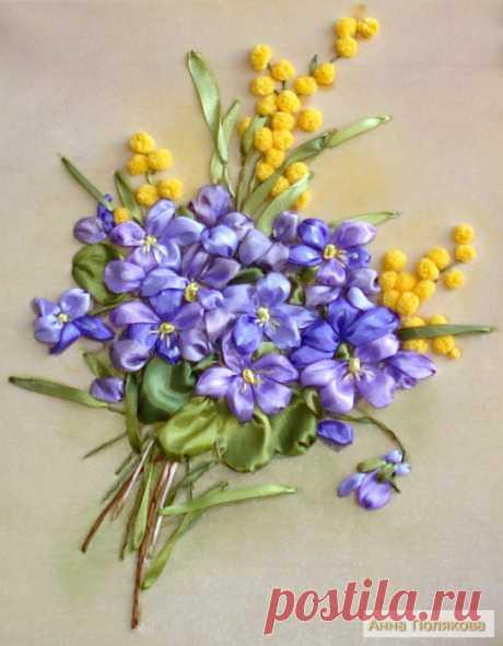 Букет цветов из... Моя вышивка лентами.