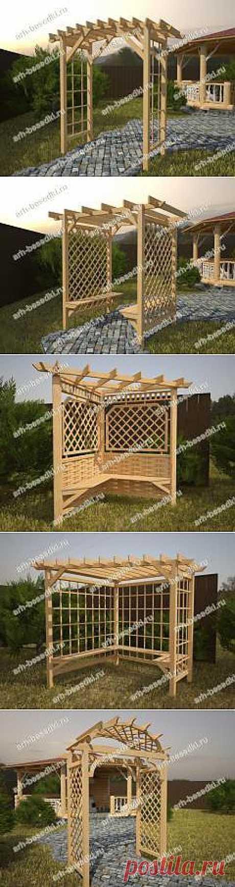 Садовые перголы. Для изготовления садовых пергол чаще всего используется древесина