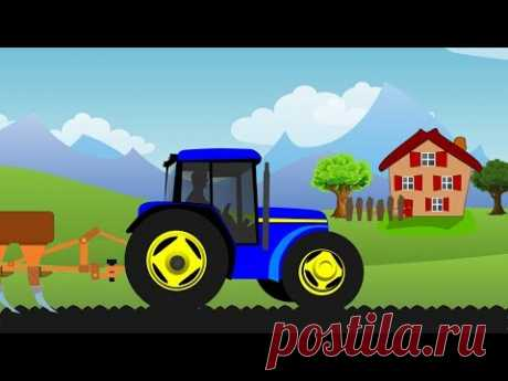 Синий Трактор - Детский Мультик. Трактор Работает В Поле - YouTube