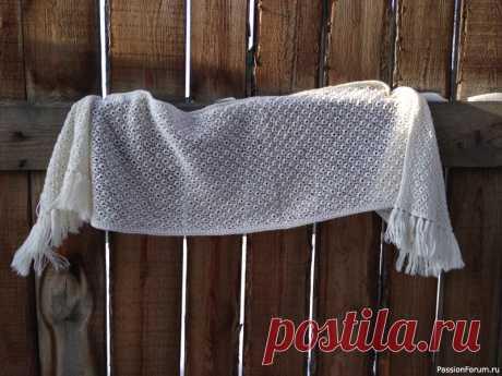 Палантин шетландским узором | Вязание спицами аксессуаров