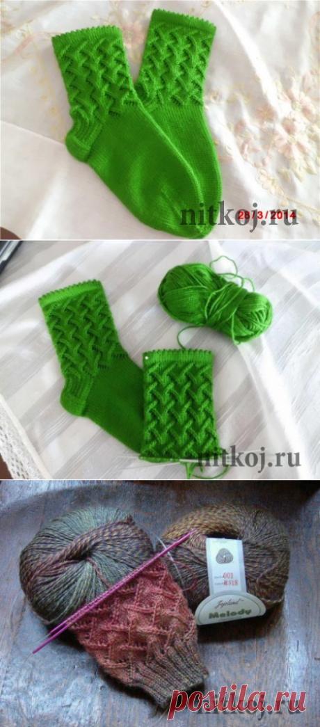 Носочки спицами, красивый узор для носка » Ниткой - вязаные вещи для вашего дома, вязание крючком, вязание спицами, схемы вязания