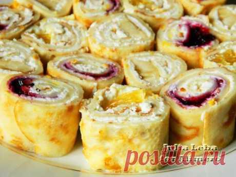 👌 Блинные роллы с фруктовой и ягодной начинкой, рецепты с фото