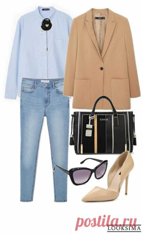 Джинсы и голубая рубашка мужского кроя могут выглядеть очень элегантно в компании прямого жакета, туфель на каблуках и женственных аксессуаров. #looksimaFashion #style #instalook #lookoftheday #модныйобраз #стиль