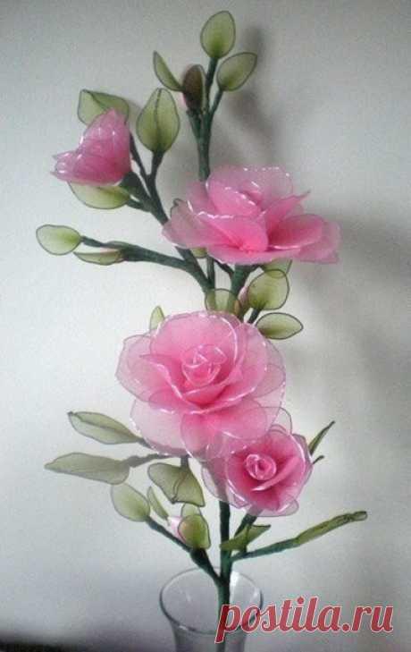 Яркие цветы из капрона: идеи — Сделай сам, идеи для творчества - DIY Ideas