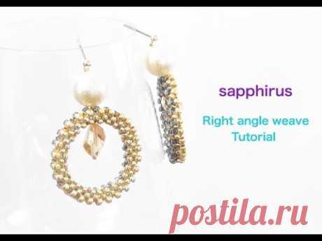 【ハンドメイド】パールとスワロフスキーのリングピアス・作り方 ライトアングルウィーブの編み方 Right angle weave tutorial.Pearl & SWAROVSKI Earrings