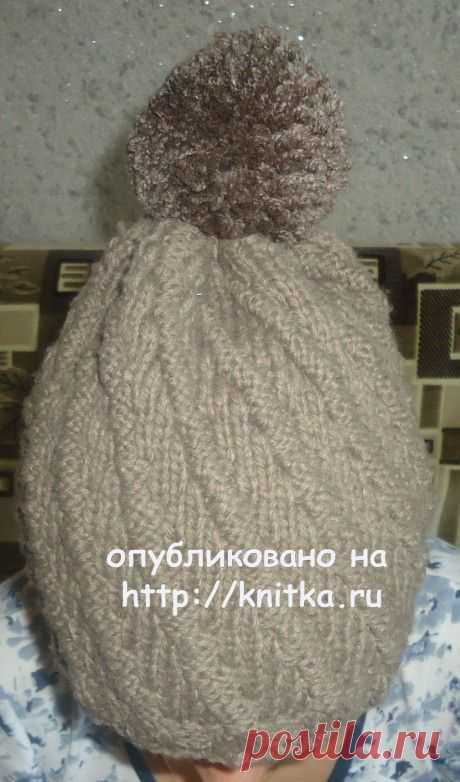 Вязаная спицами шапка. Работа Валерии, Вязание для женщин