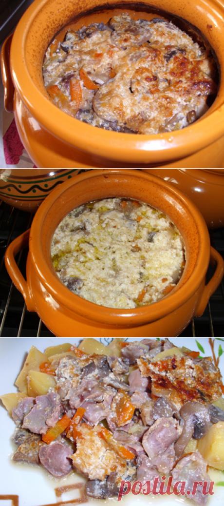 Тушеные куриные желудки с грибами и картошкой. Рецепт. Фото