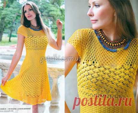 Приталенное платье крючком. Описание, схемы вязания