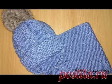 Детская шапка 2-4 года с меховым помпоном(ушки и завязки)