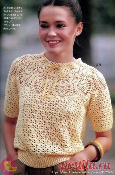 Пуловер с круглой кокеткой крючком — Сделай сам, идеи для творчества - DIY Ideas