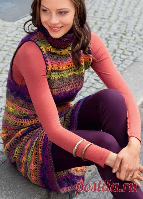Sundress from a yarn of section dyeing - the scheme of knitting by a hook. We knit Sundresses on Verena.ru