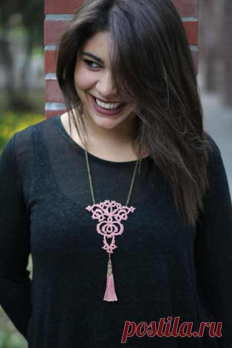 Пыльный розовый чешский ожерелье кисточкой/ / Boho chic кисточкой | Etsy